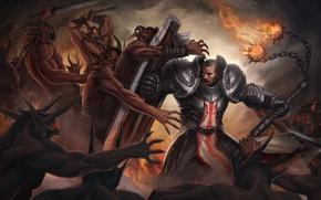 Картинка fire, щит, diablo 3, battle, крестоносец
