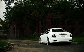 Картинка Maserati, Quattroporte, Дерево, Белый, Бампер, Здание, Багажник