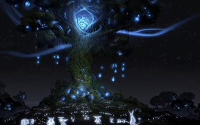 Картинка ночь, огни, дерево, дух, зверьки, Ori And The Blind Forest