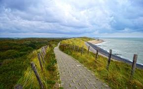 Картинка beach, sea, ocean, seascape, clouds, way, pathway, seaside, ship, path