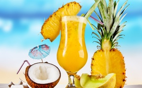 Обои небо, стол, кокос, бокалы, коктейль, summer, ананас, food, трубочки, fruits, шпажки, cocktails