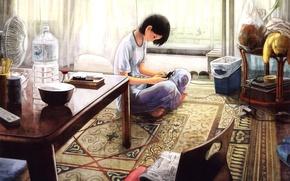 Картинка девушка, квартира, консоль