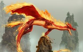 Картинка Дракон, Скалы, Огонь, dragon blade wrath of fire
