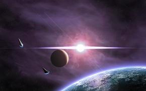 Картинка звезды, сияние, планета, спутник, вспышка, spaceships