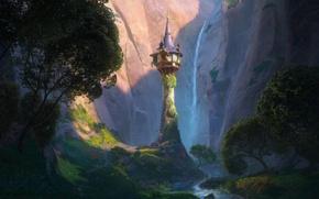Обои деревья, цветы, горы, замок, башня, долина, шпиль, Tangled, Запутанная история, Принцесса Рапунцель, Rapunzel