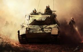 Картинка туман, оружие, арт, солдаты, танк, военные, invasion