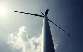 Картинка небо, солнце, свет, light, sky, 1920x1200, sun, hi-tech, eco, ветрогенератор, wind generator