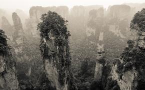 Картинка горы, природа, скалы, растительность, панорама, Китай
