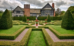 Обои little moreton hall, cheshire, england