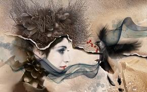 Картинка девушка, стиль, птица, текстура