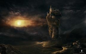 Картинка облака, скала, замок, остров