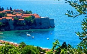 Картинка море, побережье, Черногория, Ядран, Montenegro, Crna Gora, Sveti Stefan