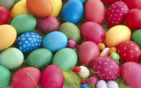 Картинка макро, красный, жёлтый, голубой, яйца, весна, Пасха, зелёный, разноцветные, close-up, много, spring, Easter, eggs, multi-colored