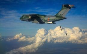 Обои KC-390, FAB, Embraer, Brazilian Air Force, Força Áerea Brasileira, military aircraft, paratroopers