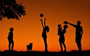 Картинка радость, дети, семья, силуэты