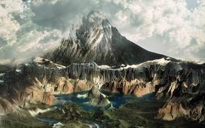 Картинка небо, горы, озеро, река, Облака