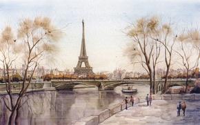 Картинка Париж, эйфелева башня, франция, река, город, рисунок