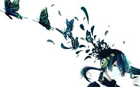 Картинка бабочки, улыбка, пистолет, аниме, наушники, арт, парень, konoha, kagerou project, icchan