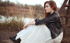 Картинка girl, grass, dress, nature, woman, bridge, water, model, redhead, female, jacket, Danielle Perry