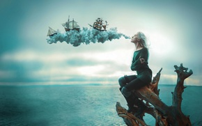 Картинка dream, flight, blow, wind, ships, illusion, gust