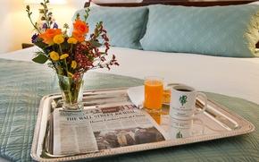 Картинка кофе, завтрак, постель