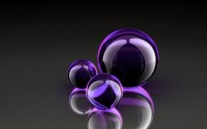 Обои пурпурные, шары, стекло, отблеск