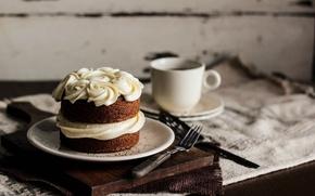 Обои выпечка, чашка, десерт, вилка, сладкое, тарелка, крем, пирожное