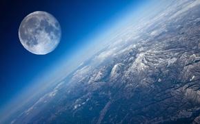 Картинка вид, планета, Луна, Земля