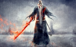 Картинка дождь, кровь, меч, дедушка, Bleach, Блич, art, nanfe, yamamoto genryuusai shigekuni