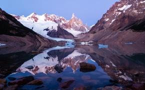 Картинка Lago torre,  los glaciares national park, patagonia, argentina, озеро, горы, снег