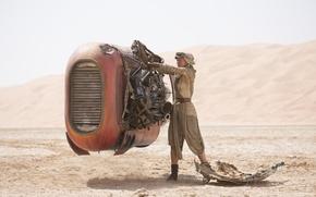 Картинка пустыня, механизм, робот, Star Wars, Звёздные Войны, The Force Awakens, Daisy Ridley, Дэйзи Ридли, Пробуждение …