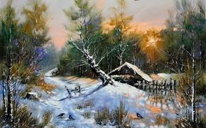 Картинка зима, лес, снег, пейзаж, птицы, дом, дерево, избушка, картина, вечер, утро, живопись, Ходюков, мастихин