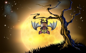 Картинка дерево, Хэллоуин, страшно, halloween, tree, bat, жуткий, creepy, full moon, полная луна, scary, летучих мышей