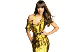 Картинка Jessica Alba, актриса, белый фон, золотое платье