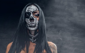 Обои makeup, model, day of the dead, woman