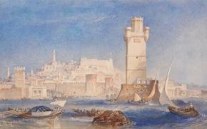Картинка море, волны, лодка, башня, картина, парус, крепость, морской пейзаж, Родос, Уильям Тёрнер