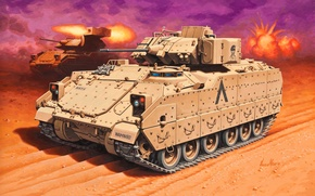 Картинка машина, пушки, арт, пулеметы, Fighting, десант, боевая, под, американская, калибр, Bradley, M240, Экипаж, Vehicle, пехоты, …