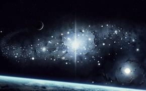 Картинка космос, звезды, поверхность, свет, земля, планеты