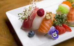 Обои малина, украшение, еда, суши