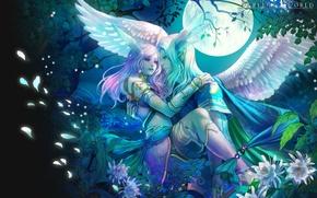 Картинка ночь, крылья, эльфы, идеальный мир