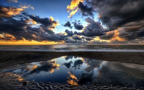 Картинка отражение, porto clementino, море, италия, вечер, небо, облака, закат