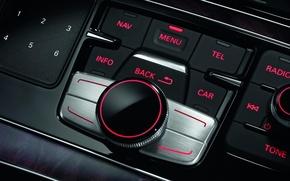 Обои авто, вид внутри, audi-а8, обои, кнопки
