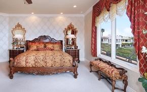 Картинка дизайн, вилла, кровать, зеркало, шкаф, роскошь, Design, спальня, Interior, Bedroom