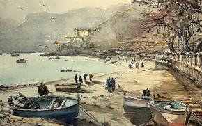 Обои картина, лодка, горы, Максимилиан Дамико, бухта, море, акварель, набережная, пейзаж