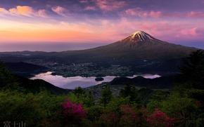Картинка гора, утро, Япония, Фудзияма, первые лучи, стратовулкан, 富士山, остров Хонсю