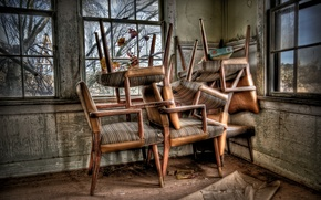 Картинка комната, окна, стулья