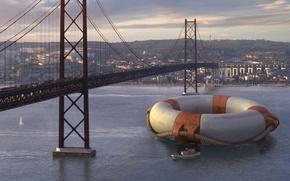 Обои мост, город, круг