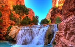 Картинка скалы, водопад, hdr, каньон, США, кусты, Arizona, Grand Canyon National Park, Beaver Falls