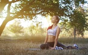 Картинка sunset, pose, yoga, outdoors