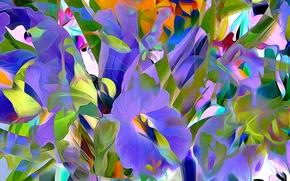 Обои цветы, рендеринг, лепестки, сад, луг